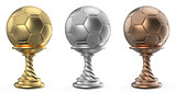 Gold, silver and bronze trophy cup SOCCER FOOTBALL 3D