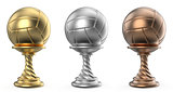 Gold, silver and bronze trophy cup VOLLEYBALL 3D