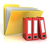 Folder icon with red ring binders. 3D