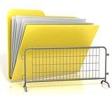 Steel barricade folder icon. 3D