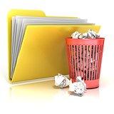 Full red recycle bin folder icon, 3D