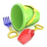 Toy bucket, rake and spade. 3D