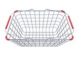 Metal shopping basket side view 3D