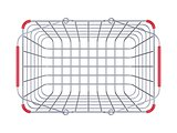 Metal shopping basket top view 3D