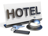 Hotel bell, sign and hotel keys 3D