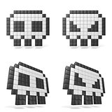 Pixelated 8bit skull icon. Front view. 3D