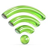 Transparent green WiFi sign 3D