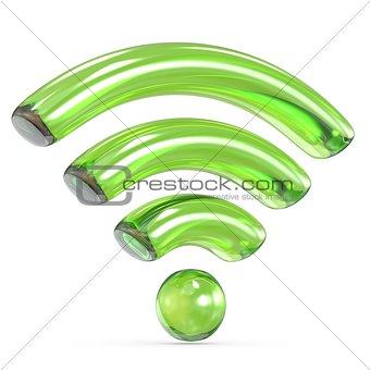 Transparent green WiFi sign 3D