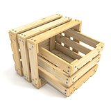 Two empty wooden crate Side view 3D