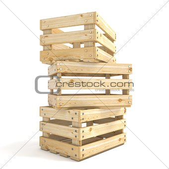 Three empty wooden crate Side view 3D