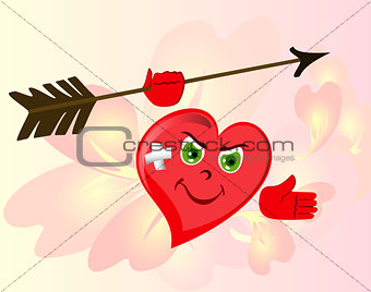 Angry red Heart to Valentine's Day. Emoji. EPS10 vector illustration