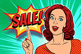 sale text pop art woman