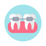 Brackets on the teeth. Icon flat style. Dentistry, dentist concept. Isolated on white background. Vector illustration.