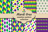 Mardi Gras set of abstract geometric pattern. Collection Purple, yellow, green rhombus repeating texture. Endless background, wallpaper, backdrop. Vector illustration.