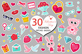 Happy Valentine s Day fashion icons set or stickers patches 80s comic style. Pins, badges collection cartoon pop art with cute symbol, heart, teddy bear, candy, kiss, gift, love. Vector illustration.