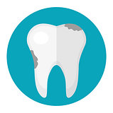 Dirty tooth, caries. Icon flat style. Dentistry, dentist concept. Isolated on white background. Vector illustration.