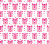 Valentines Day seamless pattern. Heart and gifts endless background. Romance, love repeating texture. Holiday wallpaper, paper, backdrop. Vector illustration.