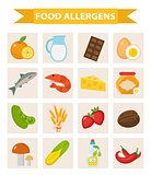Food allergen icon set flat style. Allergy products, meal allergies. Isolated on white background. Vector illustration.