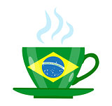 Brazilian coffee icon flat style. Green cup with the flag of Brazil. Isolated on white background. Vector illustration.