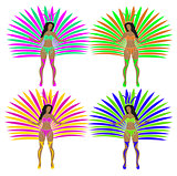 Girls in carnival costumes. Brazilian samba dancers. Rio de Janeiro women dancing. Isolated on white background. Vector illustration.