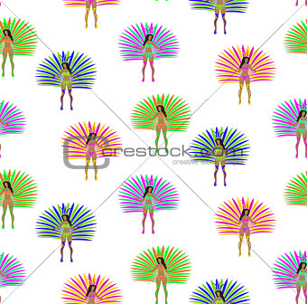 Girls in carnival costume seamless pattern. Brazilian samba dancer endless background. Rio de Janeiro women dancing repeating texture. Vector illustration.
