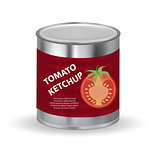 Tomato ketchup, tomato paste in a tin can, 3d realistic style. Canned red sauce. Mock-up for your product design. Vector illustration.