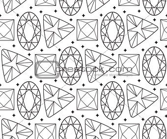 Diamond seamless pattern, line, sketch, doodle style. Modern trendy endless background with jewelry. Gems repetitive texture. Gemstone wallpaper, backdrop, paper. Vector illustration.