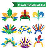 Brazil Feather Headband Headdress icons flat style. Headpiece Carnival, Samba Festival headwear. Isolated on white background. Vector illustration.