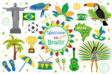 Brazilian carnival icons flat style. Brazil country travel tourism. Collection of design elements, culture symbols with toucan, parrot, rio de jeneiro monument, carnival costume. Vector illustration.