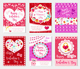 Happy Valentine s Day set poster, invitation, greeting card, background. St. Valentine s Day collection template for your design with space for text, hearts, romantic symbols. Vector illustration.