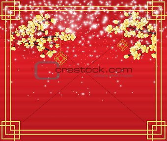 Postcard celebrating the Chinese New Year. Vector Illustration.
