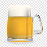 Naturalistic large glass of freshly coldly flavored and tasty light foamy beer. Isolated on White Background Vector Illustration.