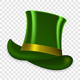 Colorful green hat on spring holiday of St. Patrick on transparent background. Vector Illustration