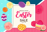 Easter Sale Cute Background with Flowers and Eggs. Vector Illustration