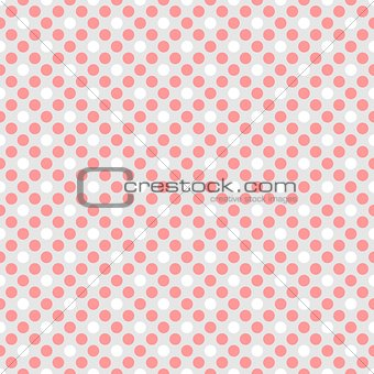Tile vector pattern with pink and white polka dots on grey background