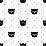 Tile  vector pattern with black cats and polka dots on white background