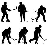 Set of silhouettes hockey player. Isolated on white
