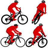 Set silhouette of a cyclist male and female.  vector illustratio