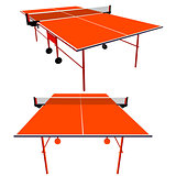 Ping pong orange table tennis. Vector illustration.