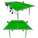 Ping pong green table tennis. Vector illustration.