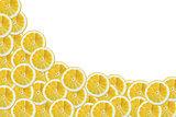 Slices of lemon on a white background