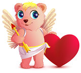 Pink bear angel with wings holds heart and arrow. Postcard Valentines Day