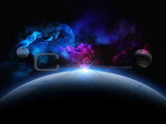 3D abstract space scene with fictional planets
