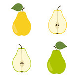 Yellow and green pear. Slice pears