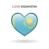 Love Kazakhstan symbol. Flag Heart Glossy icon on a white background