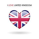 Love United Kingdom symbol. Flag Heart Glossy icon