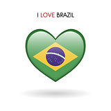 Love Brazil symbol. Flag heart glossy icon
