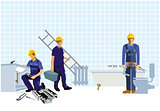Installers and fitters at the construction site
