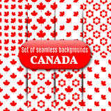 Set of Canadian seamless background, vector illustration.