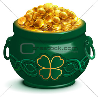 Green full pot with gold coins. Pot with four leaf clover symbol of Patricks Day